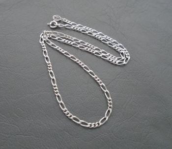 "Italian sterling silver Figaro chain (16.25"", 3mm)"