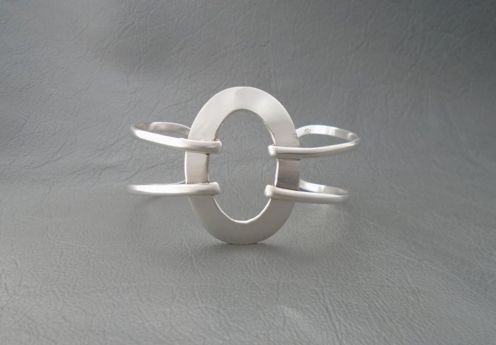Large sterling silver open oval cuff bracelet