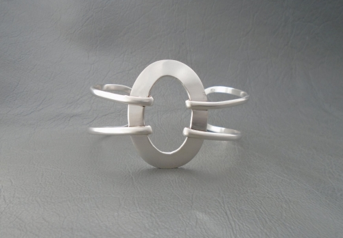 Large sterling silver open oval cuff bracelet