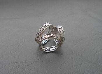 Sterling silver Celtic trio scarf ring