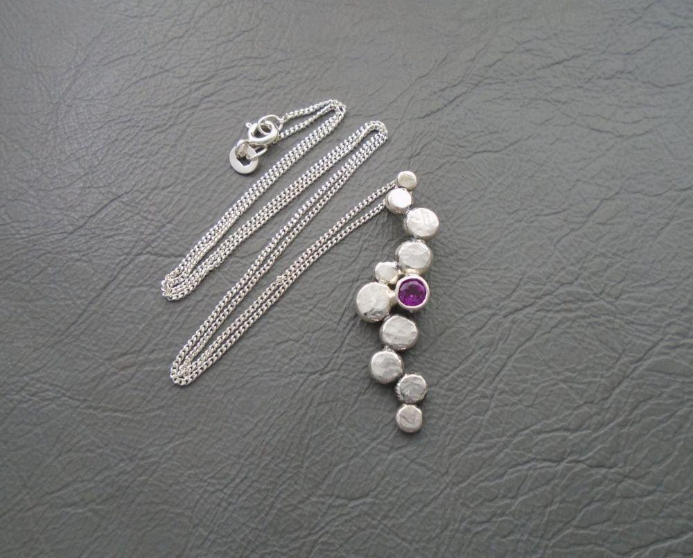 Unique handmade sterling silver & Rhodolite garnet necklace
