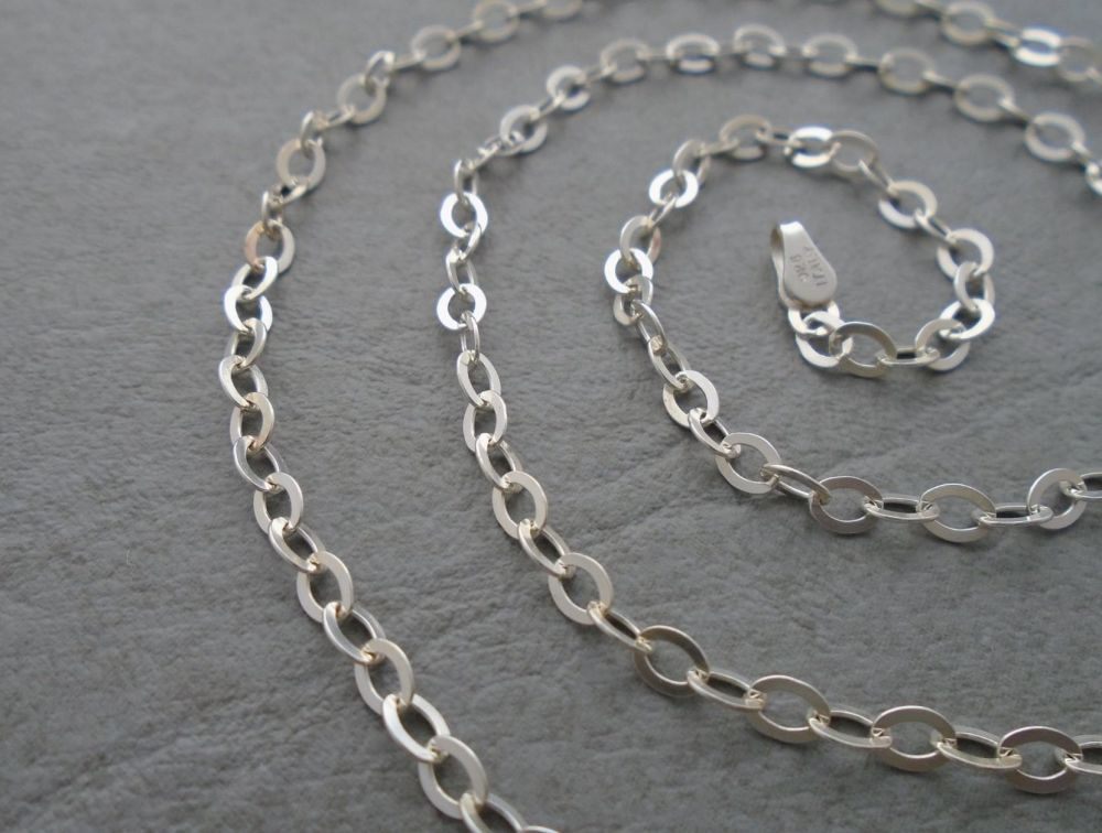 "Italian sterling silver flat trace chain necklace (19.5"", 3mm)"