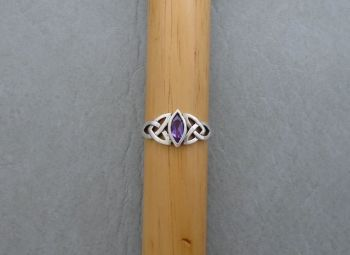 Celtic sterling silver & amethyst ring