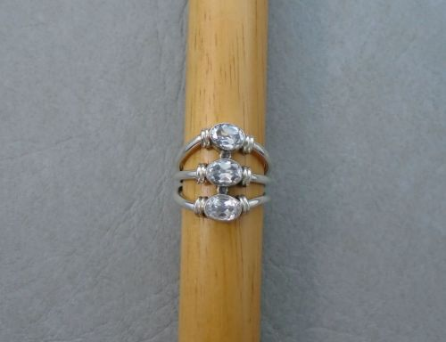 Wide multi-band effect sterling silver & clear stone ring
