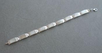 Elegant sterling silver & Mother of Pearl panel bracelet