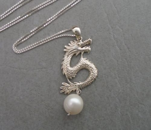 Sterling silver dragon necklace with a freshwater pearl drop