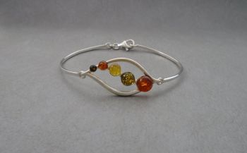 Sterling silver & graduated multi-amber bracelet / bangle