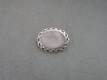 Elegant sterling silver & Mother of Pearl brooch