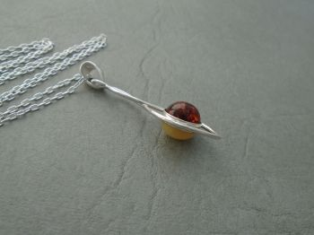 Unusual double sided sterling silver & amber necklace