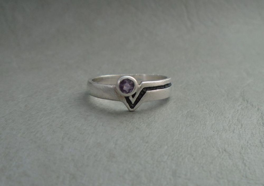 Textured sterling silver ring with amethyst