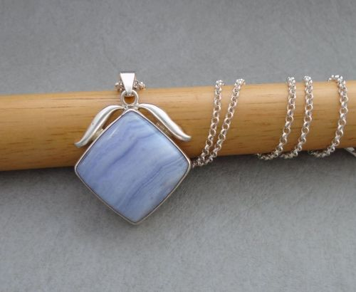 Sterling silver & pale blue lace agate necklace
