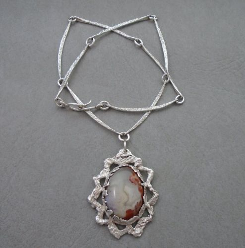 Unique handmade vintage sterling silver & agate necklace