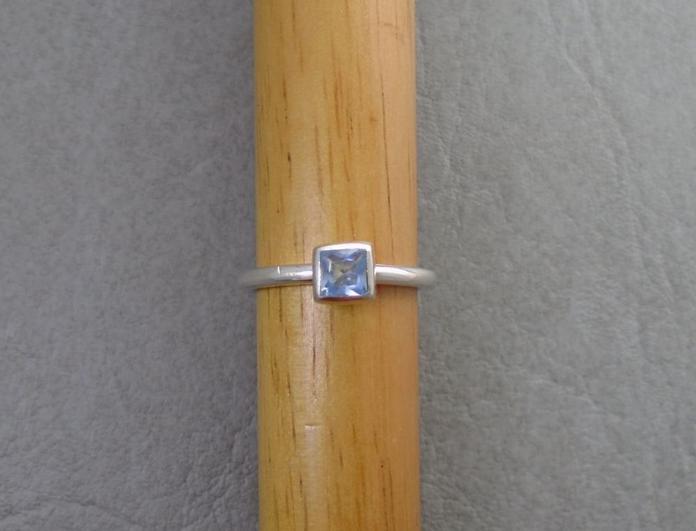 Square sterling silver & blue topaz solitaire ring