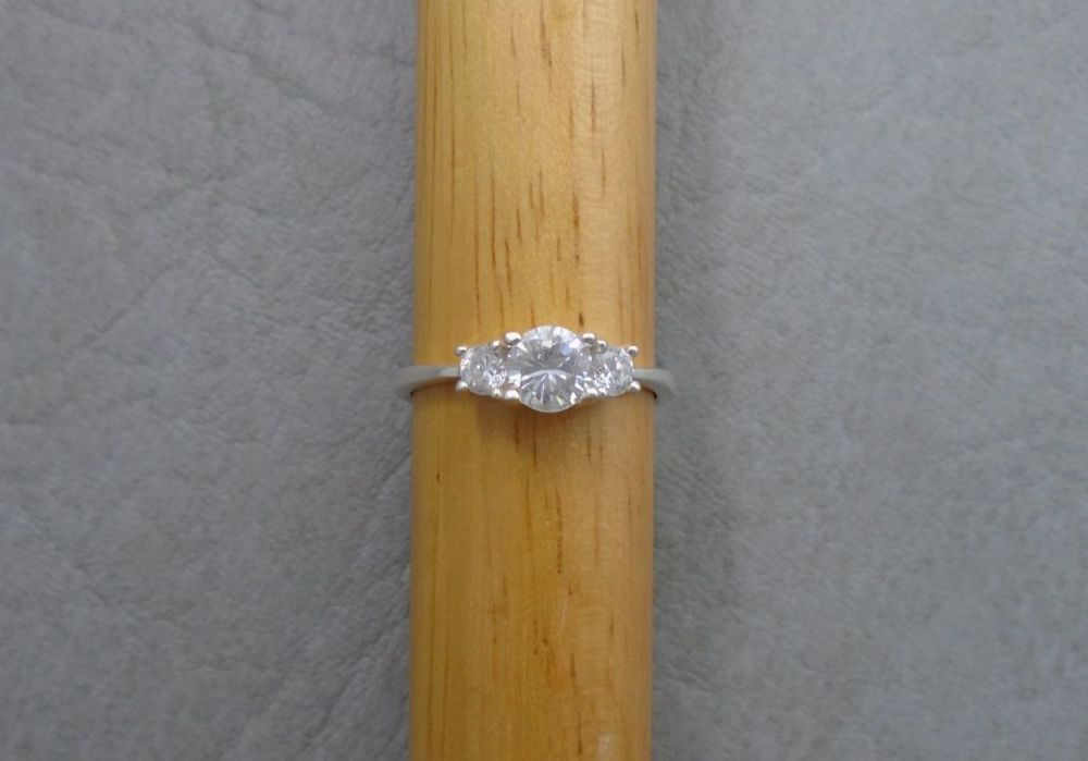 Dainty sterling silver & clear stone trilogy ring