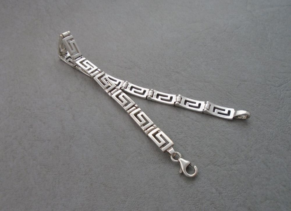 Sterling silver Greek key panel bracelet