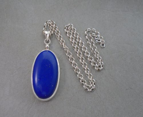 Large oval sterling silver & lapis necklace
