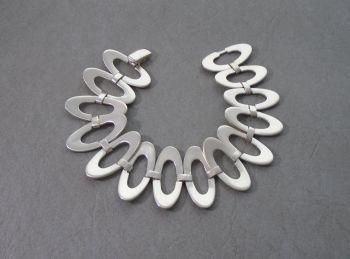 Large sterling silver open domed ovals bracelet
