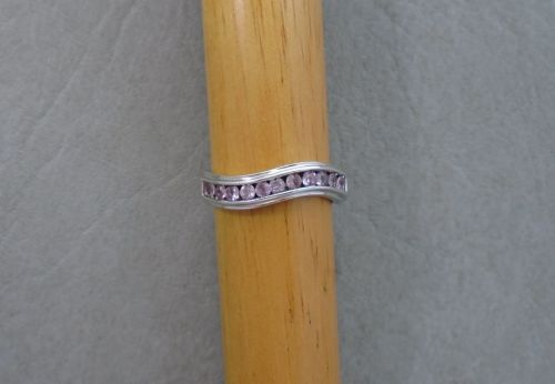 Sterling silver wave ring with pale pink stones