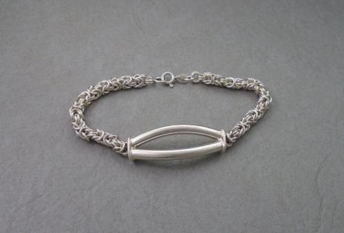Heavy sterling silver byzantine chain bracelet