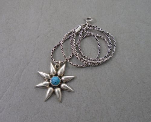 Attractive sterling silver & howlite necklace with a woven chain