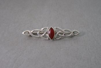 Celtic sterling silver & carnelian bar brooch
