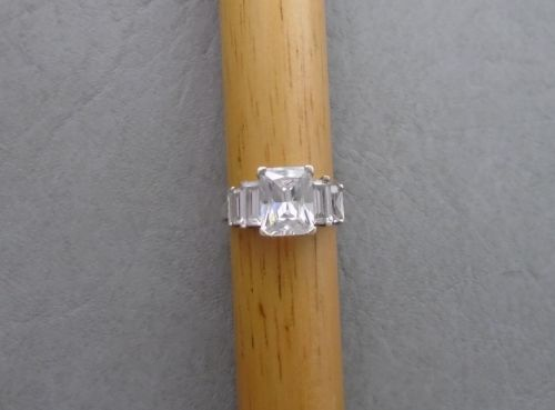 Sterling silver ring with 5 stepped rectangular stones