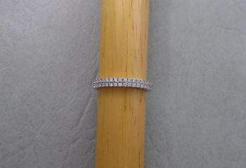 Sterling silver ring with a double row of tiny clear stones