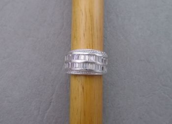 Elegant sterling silver cocktail ring with multi-cut clear stones