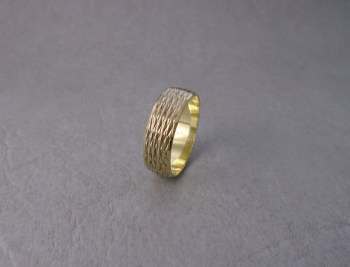 Gilt sterling silver textured band ring