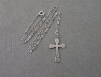 Small sterling silver embossed cross necklace