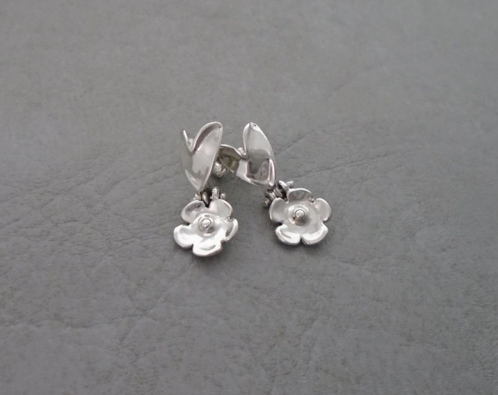 Handmade sterling silver heart & flower earrings