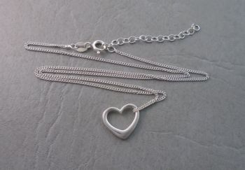 Classic sterling silver floating heart necklace