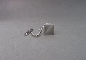 Square sterling silver tie pin