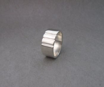 Wide sterling silver band ring