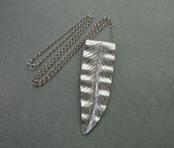 Large sterling silver leaf necklace