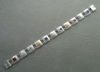 Unusual layered sterling silver & multi-gem bracelet