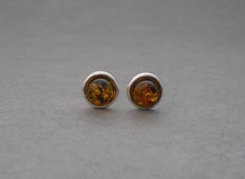 Circular sterling silver & amber cabochon stud earrings