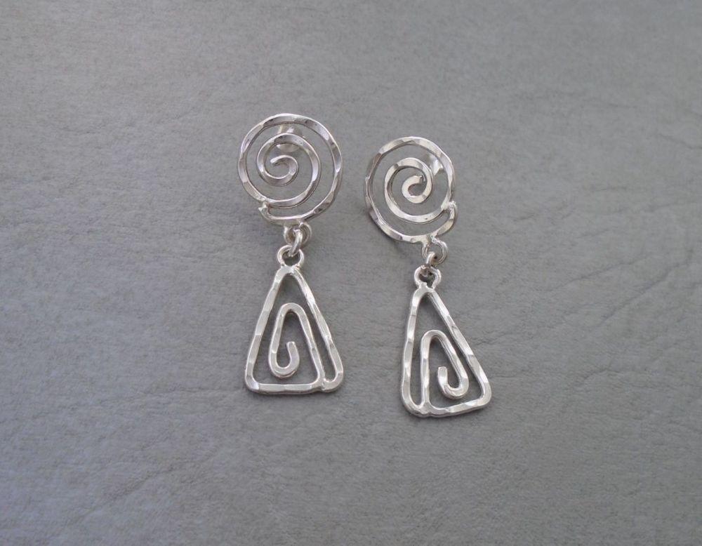 Swirled sterling silver drop earrings