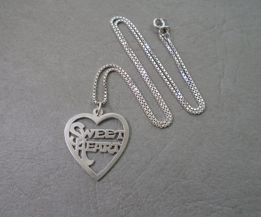 Cute sterling silver 'SWEETHEART' necklace