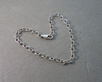 "Sterling silver trace chain bracelet (7.5"", 4mm)"