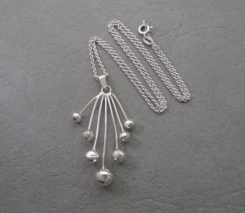 Unusual sterling silver spray of spheres necklace