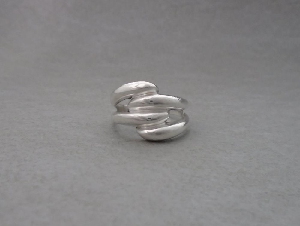 Sterling silver double bypass effect ring