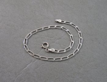 "Italian sterling silver elongated curb chain bracelet (7.5"", 3mm)"