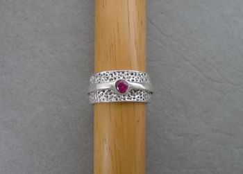 Textured & layered sterling silver ring with rhodolite garnet