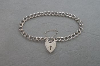 Vintage sterling silver charm bracelet with heart padlock & safety chain
