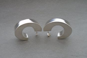 Large sterling silver 'C' earrings