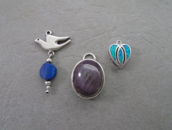 3 mixed sterling silver pendants