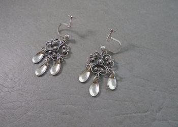 Fancy 830 silver Balinese earrings