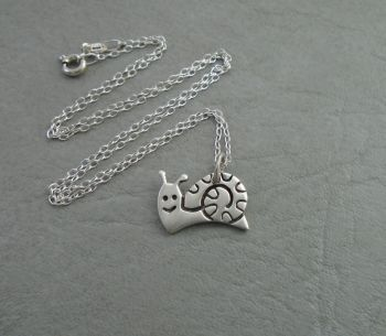 Small sterling silver snail necklace