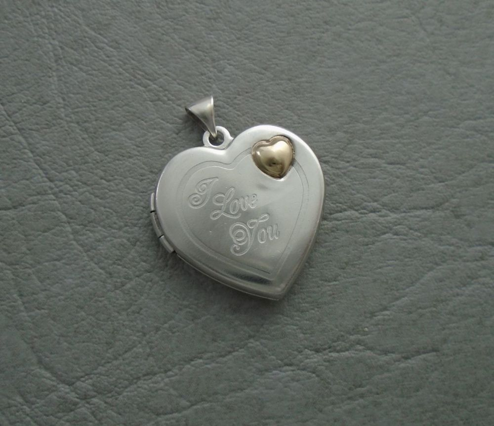 Sterling silver heart shaped 'I Love You' locket with 9ct gold detail